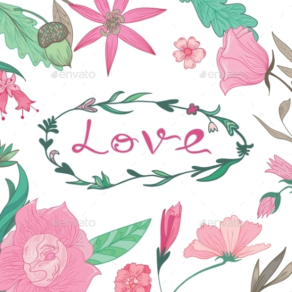 GraphicRiver Love Lettering In Summer Floral Frame 11763398