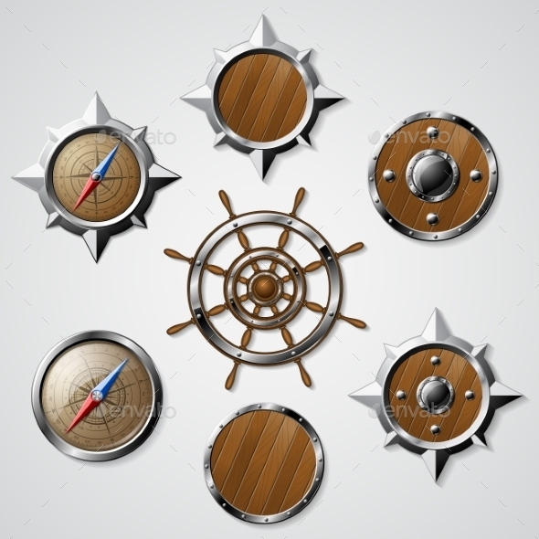 GraphicRiver Set Of Steel And Wooden Nautical Elements 11763402