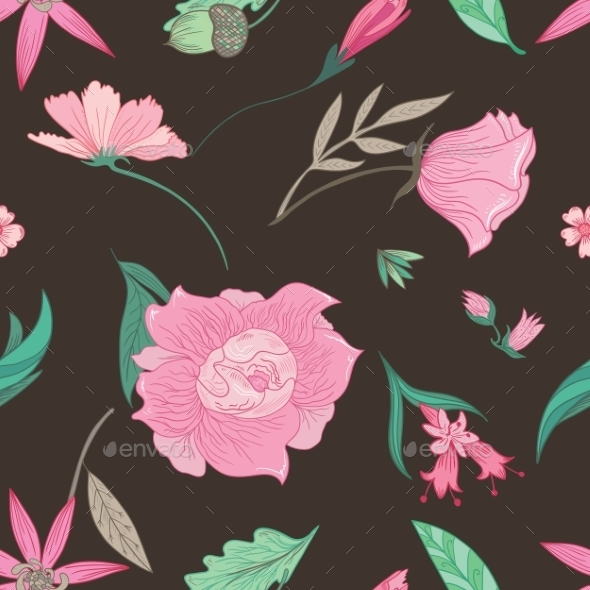 GraphicRiver Summer Floral Pattern On Brown Background 11764805