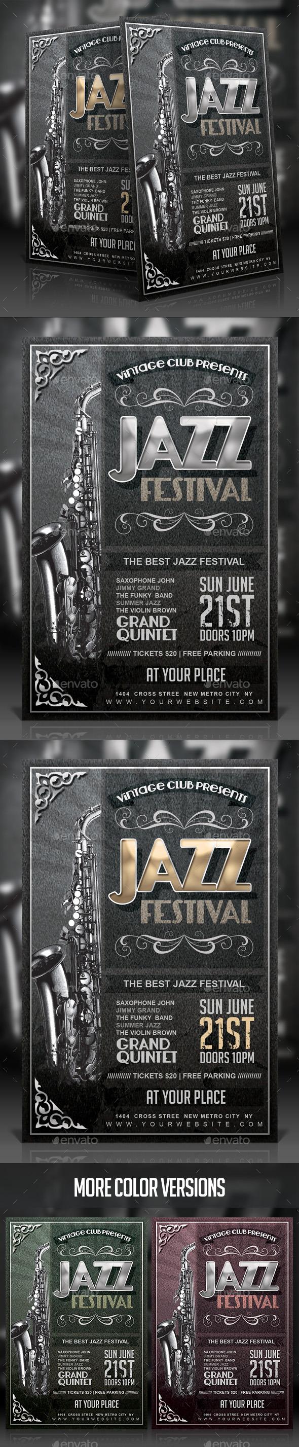 GraphicRiver Vintage Jazz Festival Flyer 11765041