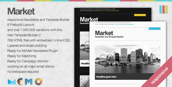 Market - Responsive Newsletter with Template Builder - Newsletters Email Templates