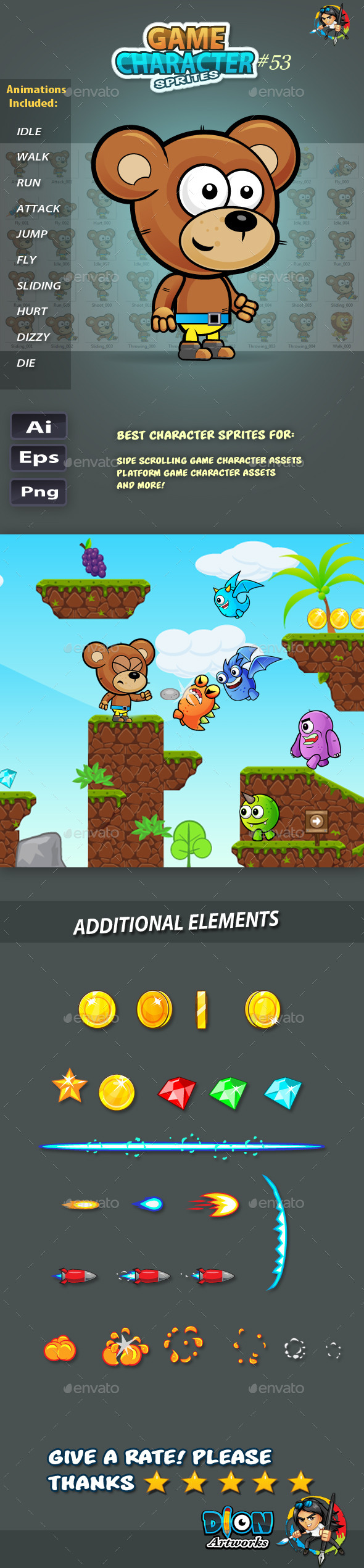 GraphicRiver Bear 2D Game Character Sprites 53 11765529