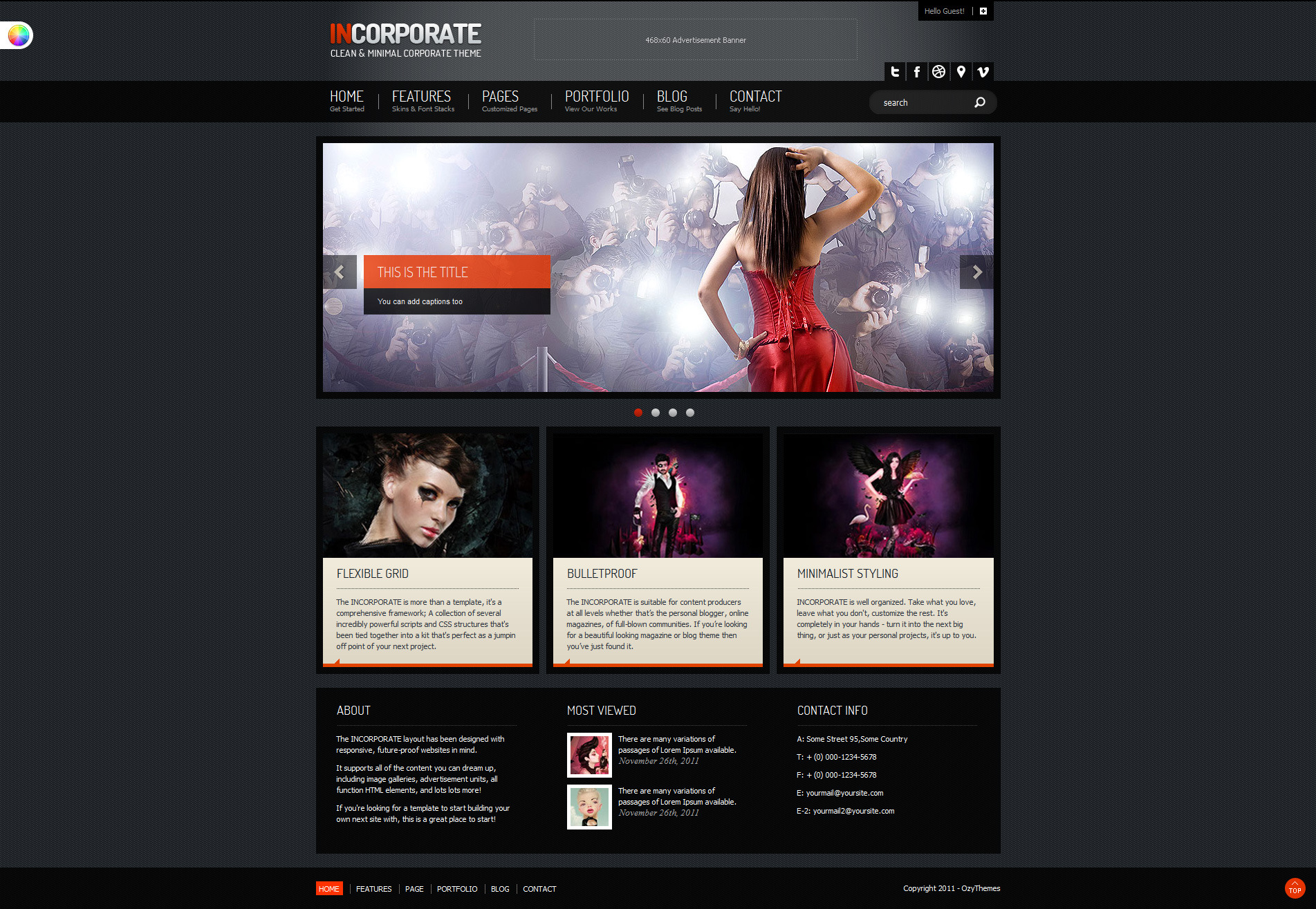 Incorporate Portfolio HTML Template - Homepage with solid background