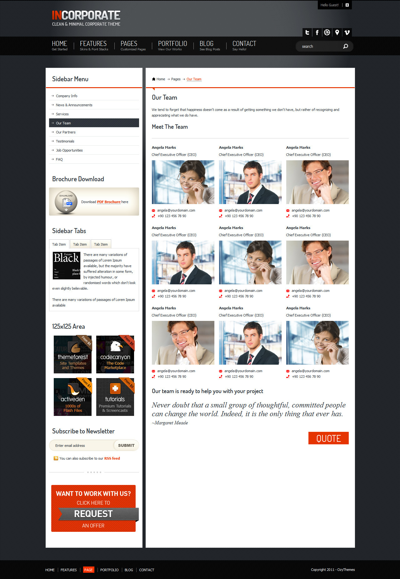 Incorporate Portfolio HTML Template - Our Team page and also included a quote