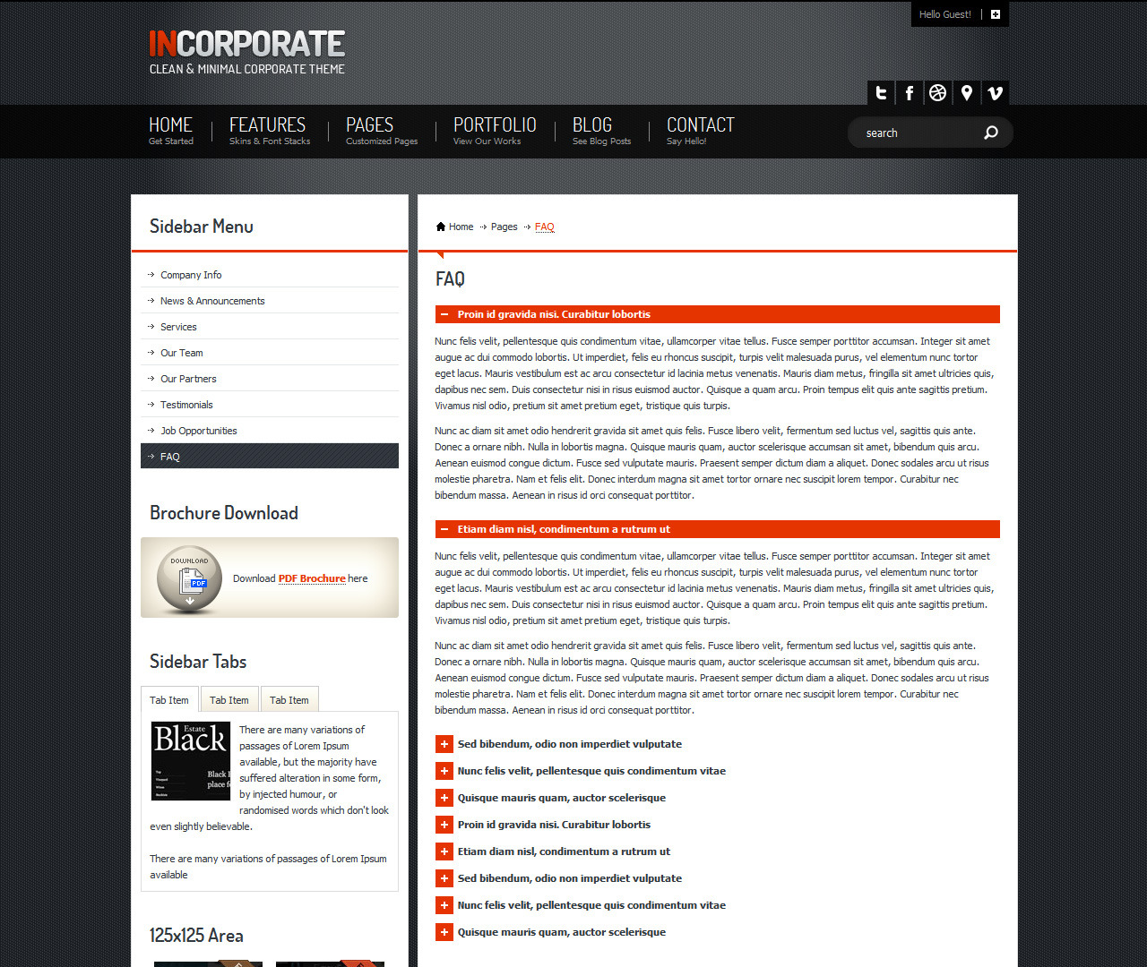 Incorporate Portfolio HTML Template - FAQ page based on an accordion menu. couple of items opened
