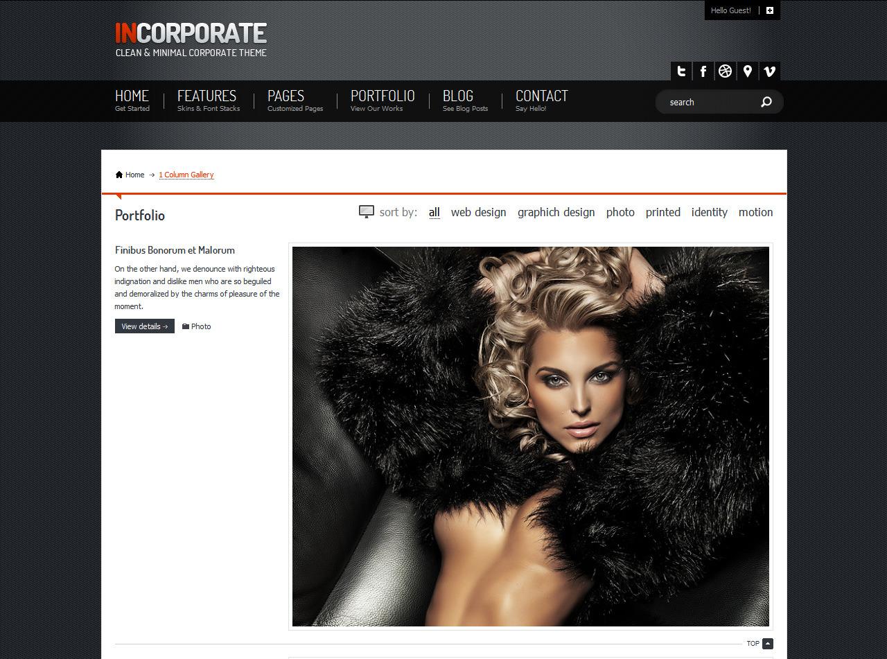 Incorporate Portfolio HTML Template - 1 Column portfolio page