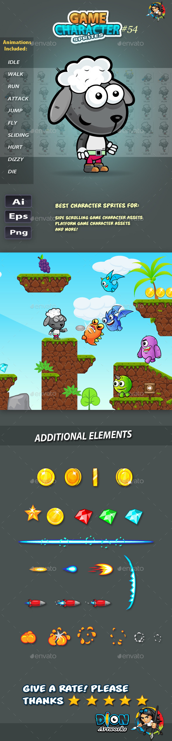 GraphicRiver Sheep 2D Game Character Sprites 54 11765985