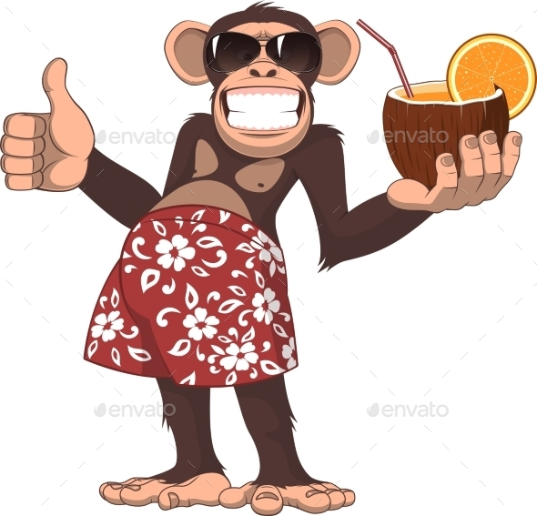 GraphicRiver Monkey with a Cocktail 11765987