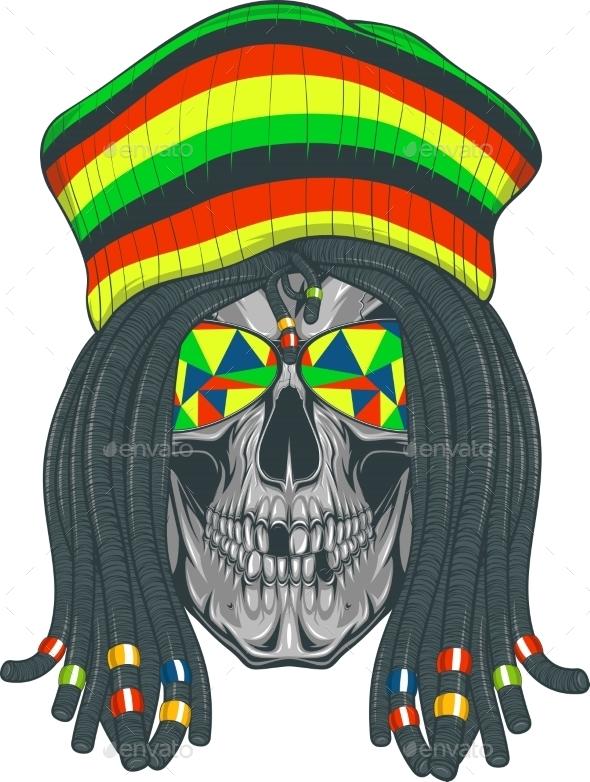 GraphicRiver Skull Rastafarian 11765997
