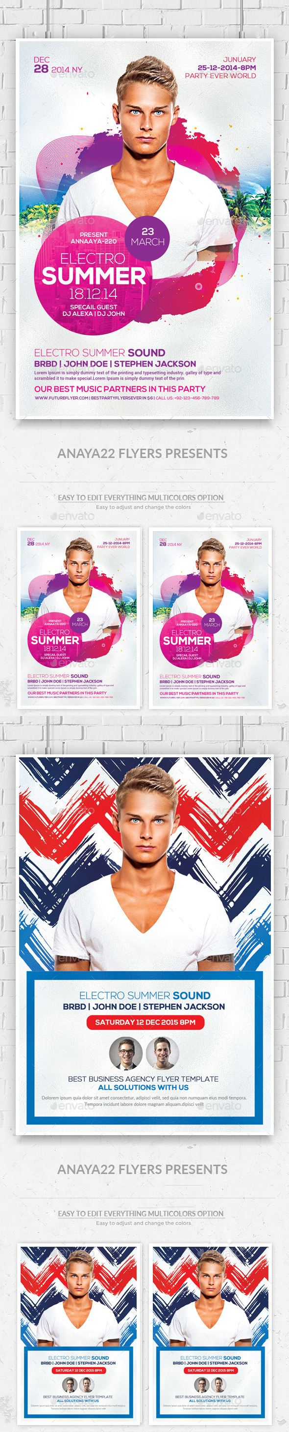 GraphicRiver Summer Electro DJ Flyers Bundle 11766074