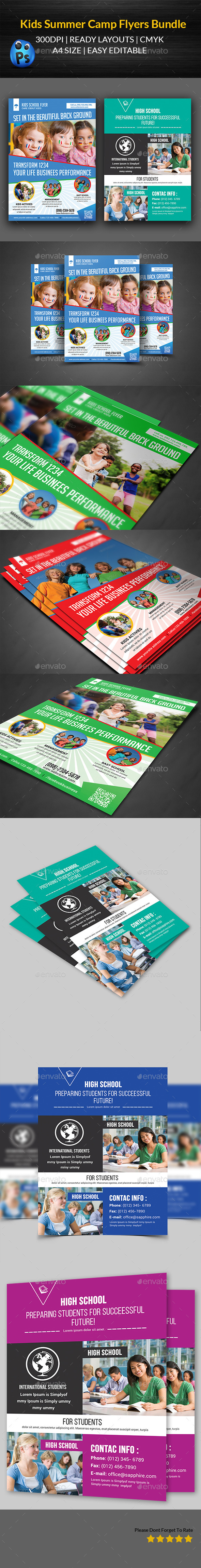 GraphicRiver Kids Summer Flyers Bundle Templates 11766268