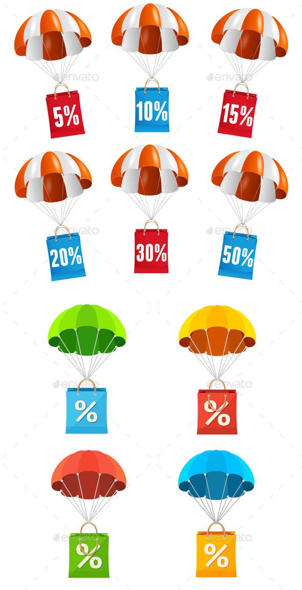 GraphicRiver Parachute Sale Labels Icon Set 11766291