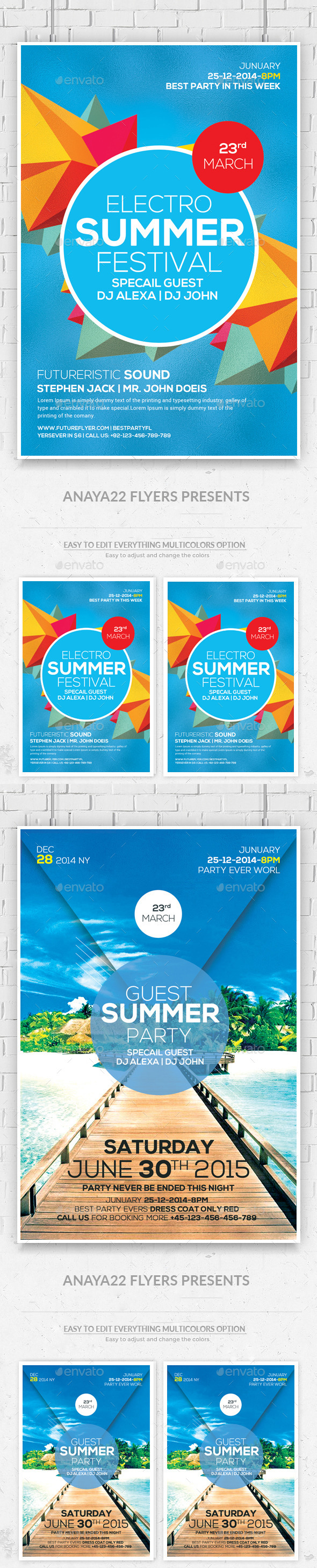 GraphicRiver Summer Sound Party Flyers Bundle 11766554