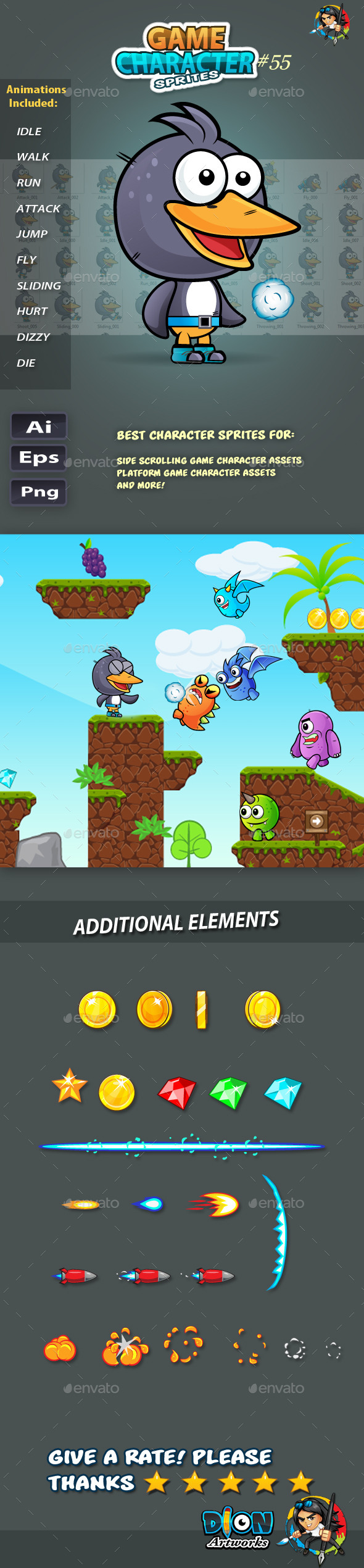 GraphicRiver Penguin 2D Game Character Sprites 55 11766636
