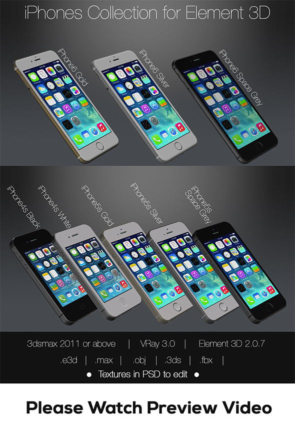 3DOcean Element3D Apple iPhones Pack 11766845