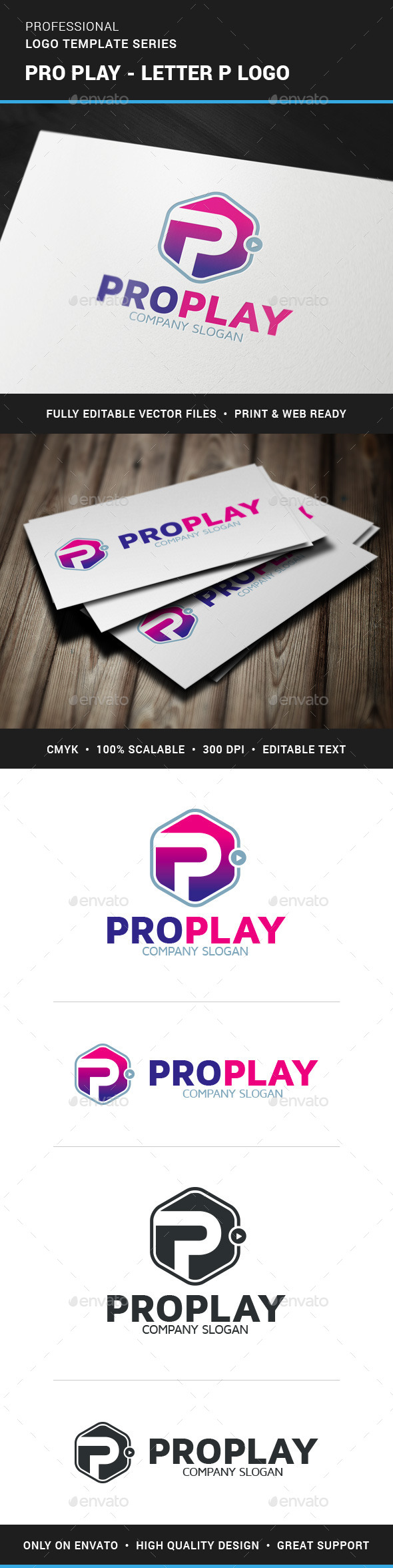 GraphicRiver Pro Play Letter P Logo 11766940