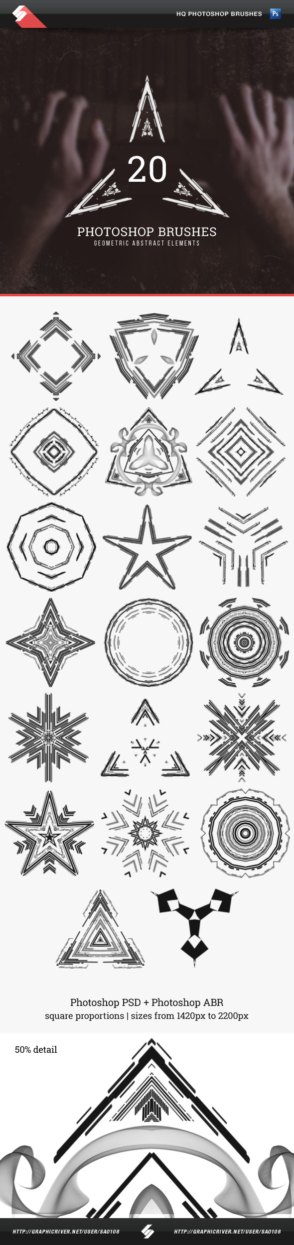 GraphicRiver Geometric Abstract Elements Photoshop Brushes 11767423