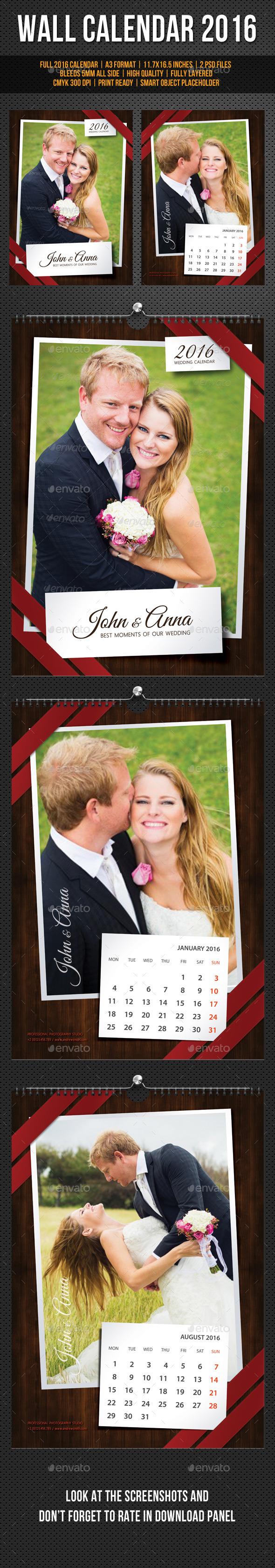 GraphicRiver Wedding Wall Calendar A3 2016 11767977