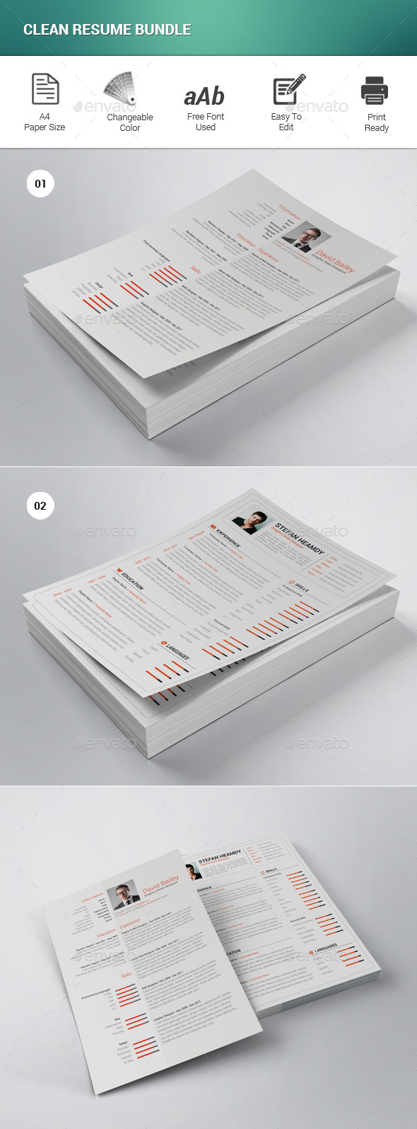GraphicRiver Clean Resume Bundle 11768082