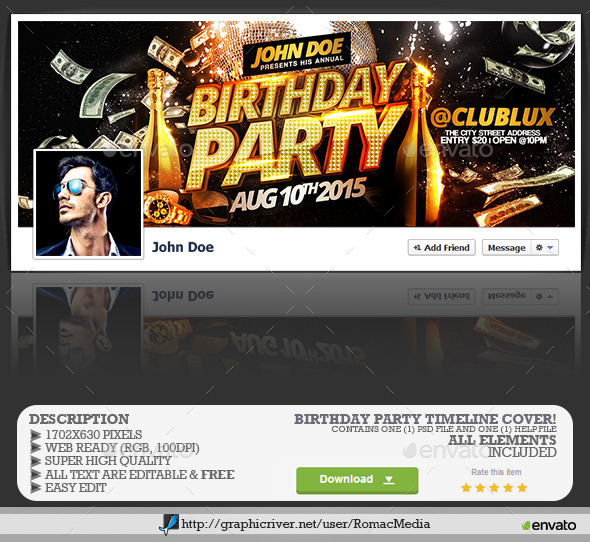 GraphicRiver Birthday Party Facebook Timeline Cover 11768236
