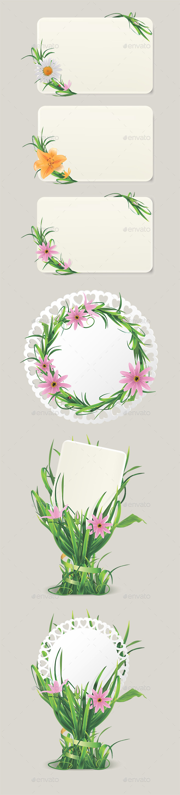 GraphicRiver Cards with Grass and Flowers 11768392