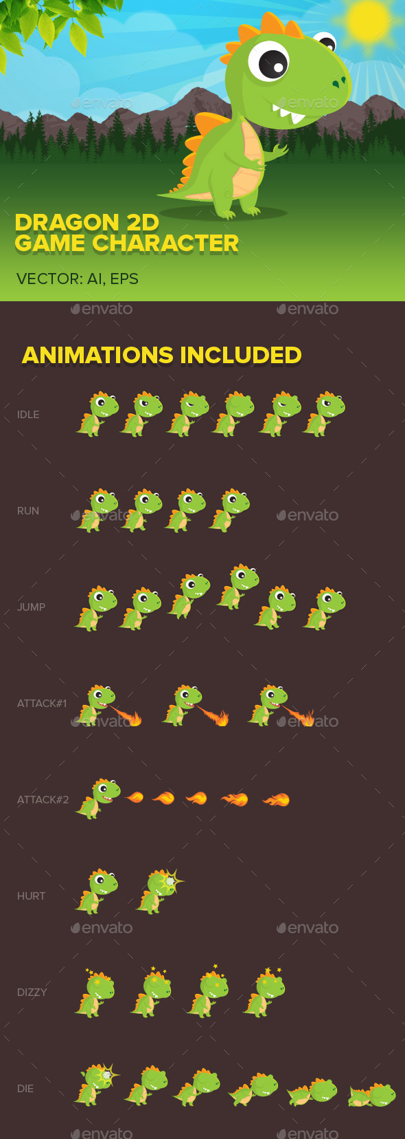 GraphicRiver Dragon 2D game character 11756623