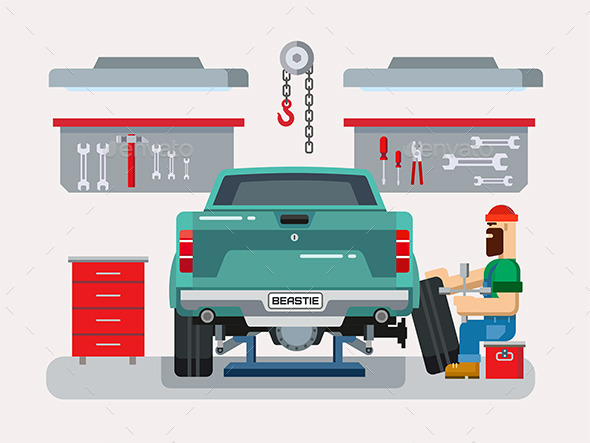 GraphicRiver Mechanic Repairs Car in the Garage 11768502