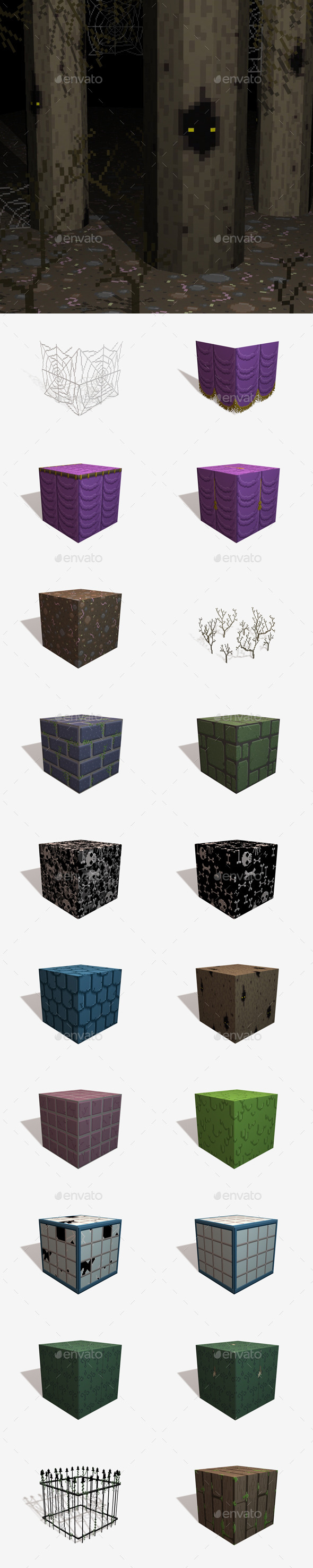 20 Horror Pixel Texture Pack - 3DOcean Item for Sale