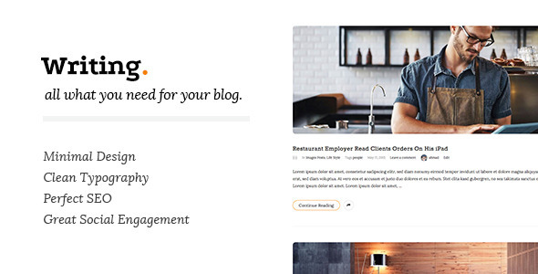 ThemeForest Writing Clean & Minimal Blog Wordpress Theme 11547928