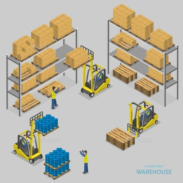 GraphicRiver Warehouse Loading Isometric Illustration 11769057
