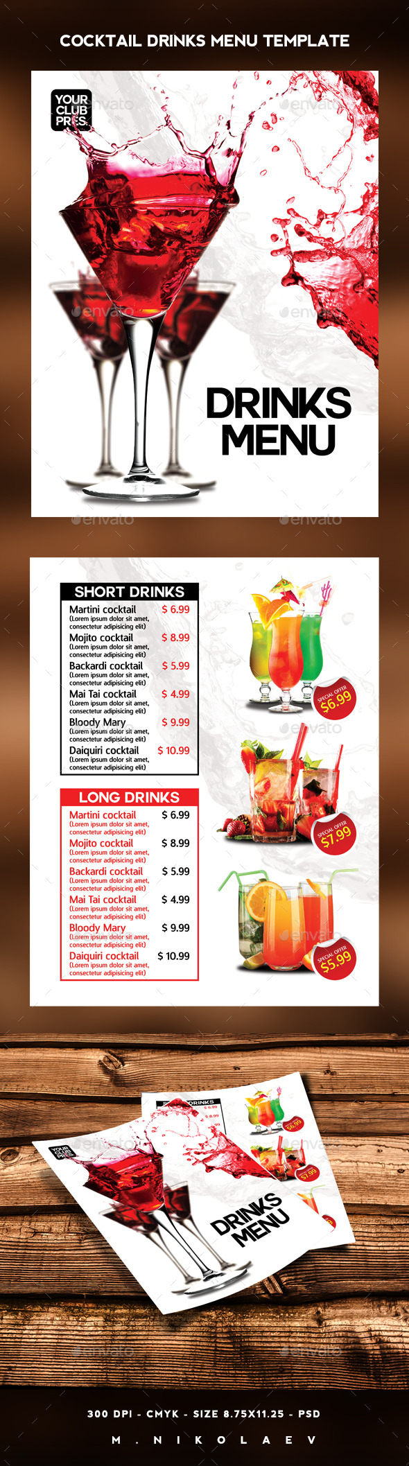 GraphicRiver Cocktail Drinks Menu 11769211