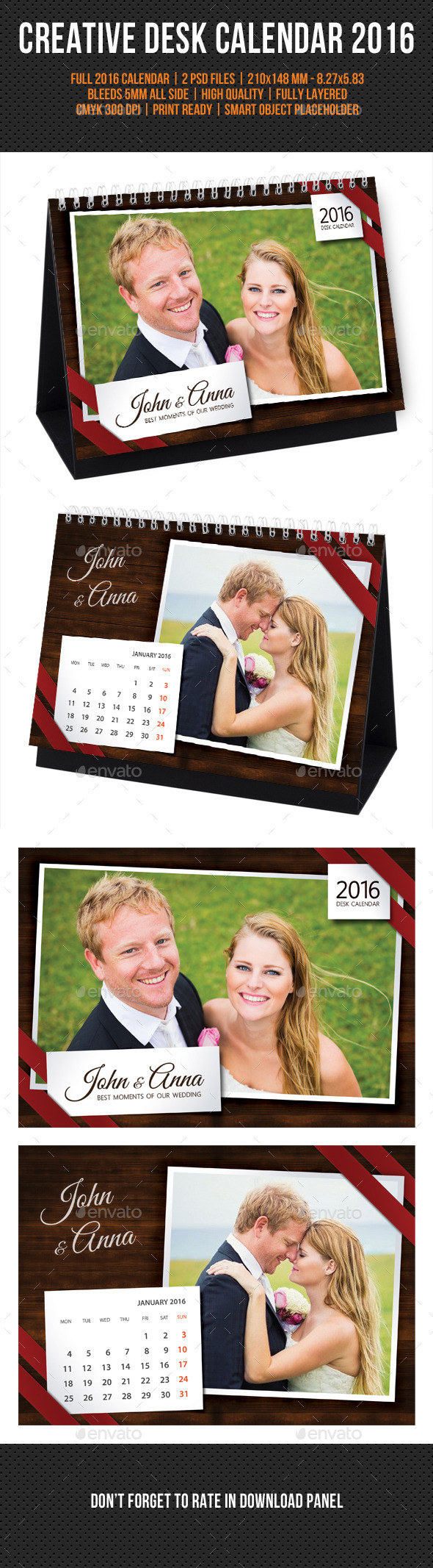GraphicRiver Wedding Desk Calendar 2016 11769869