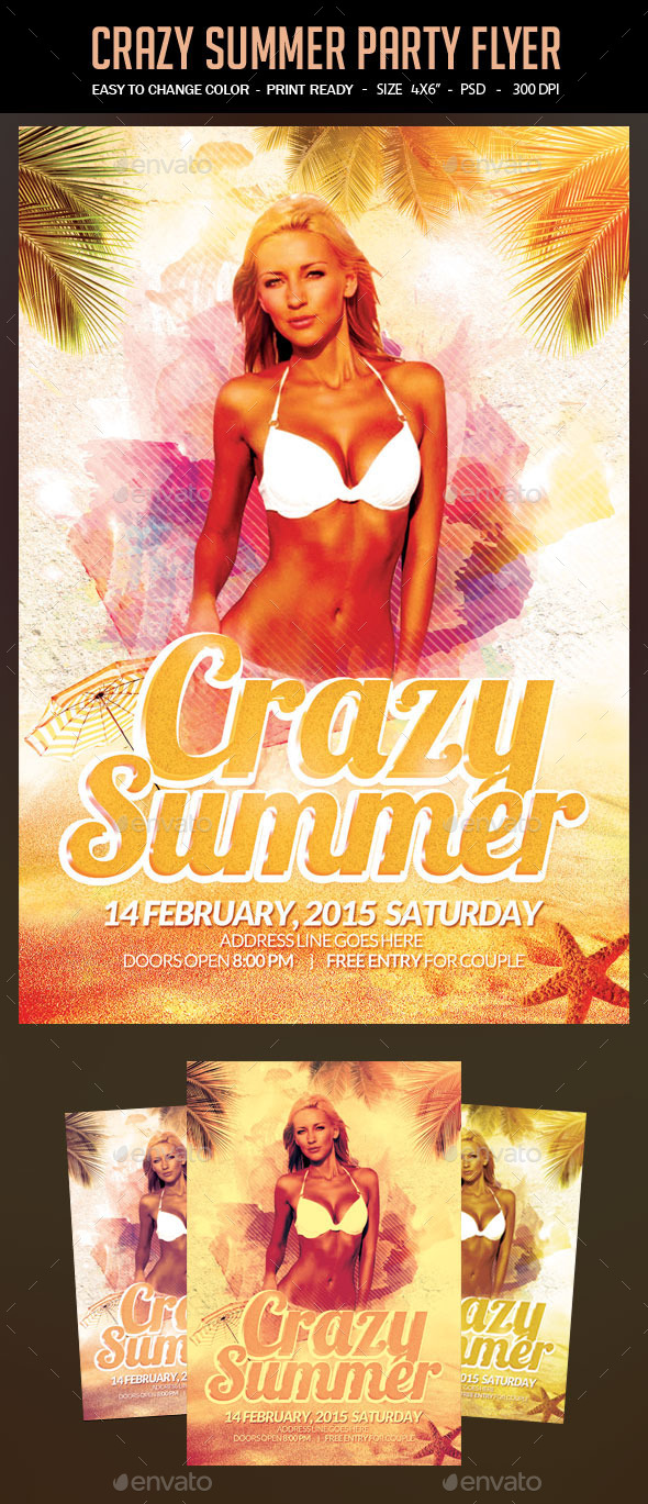 GraphicRiver Crazy Summer Party Flyer 11769902