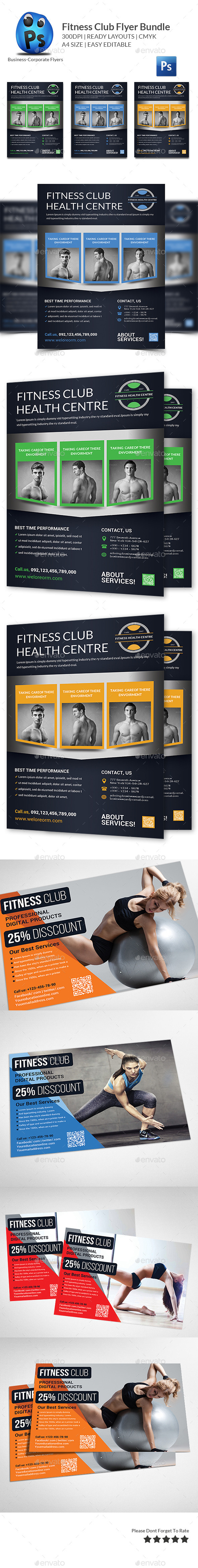 GraphicRiver Health Sports Fitness Flyer Bundle 11769932