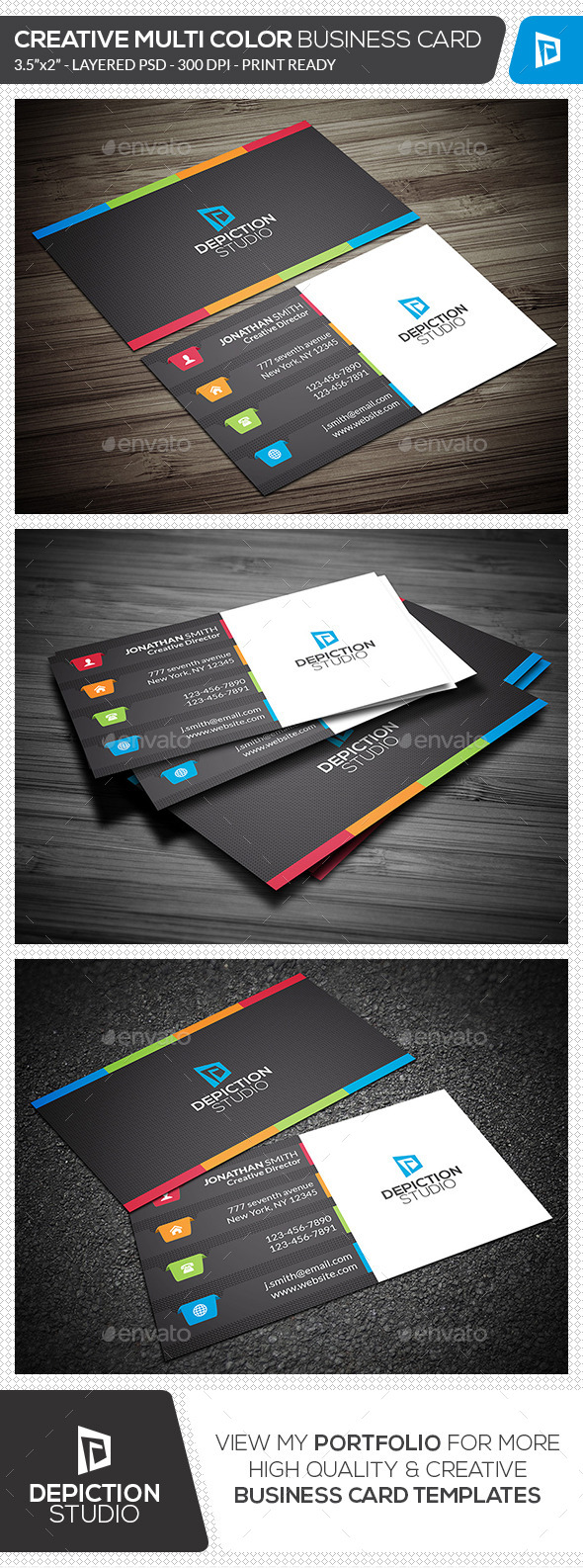 GraphicRiver Creative Multi Color Business Card 11770047