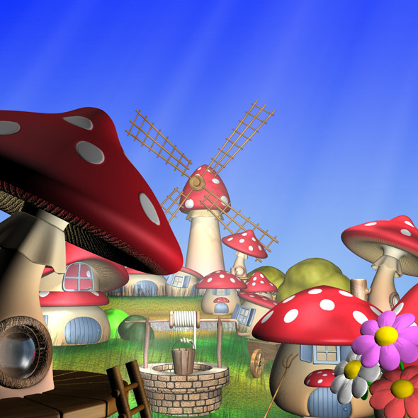 3DOcean Cartoon Mushroom Village 11770336