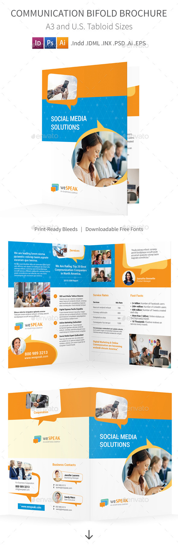 GraphicRiver Communication Bifold Halffold Brochure 11770413
