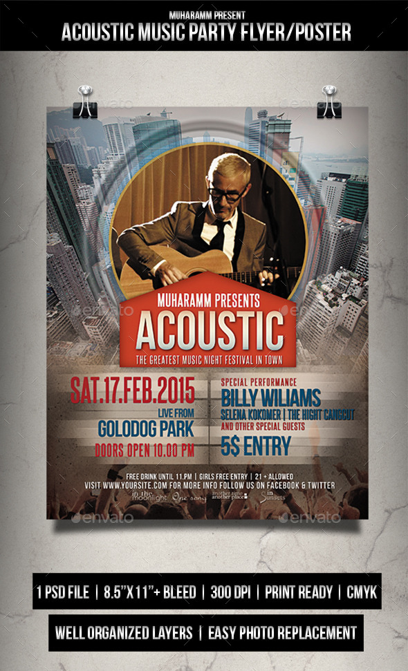 GraphicRiver Acoustic Music Party Flyer Poster 11770692