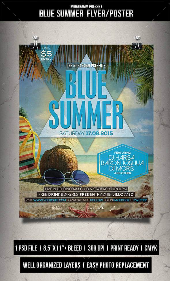 GraphicRiver Blue Summer Flyer Poster 11770915