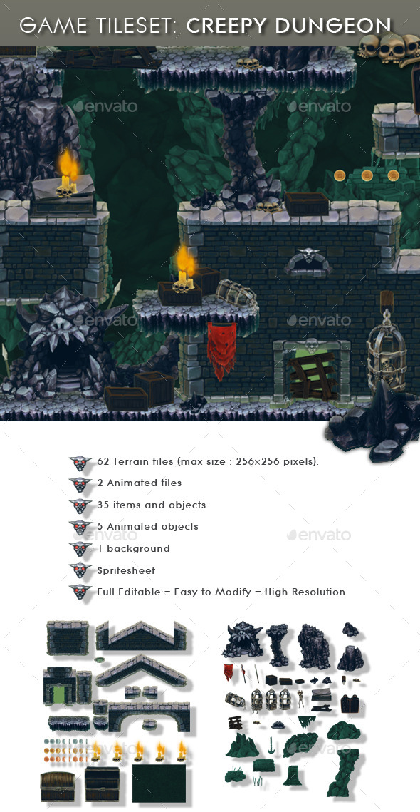 GraphicRiver Creepy Dungeon Platform Tileset 11771483