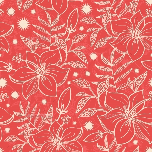 GraphicRiver Vector Red And Beige Tropical Floral Seamless 11772141