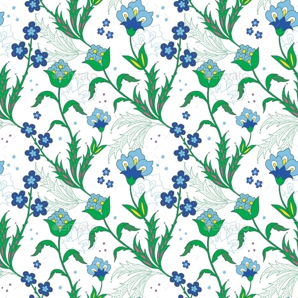 GraphicRiver Vector Turkish Field Flowers Seamless Pattern 11772143
