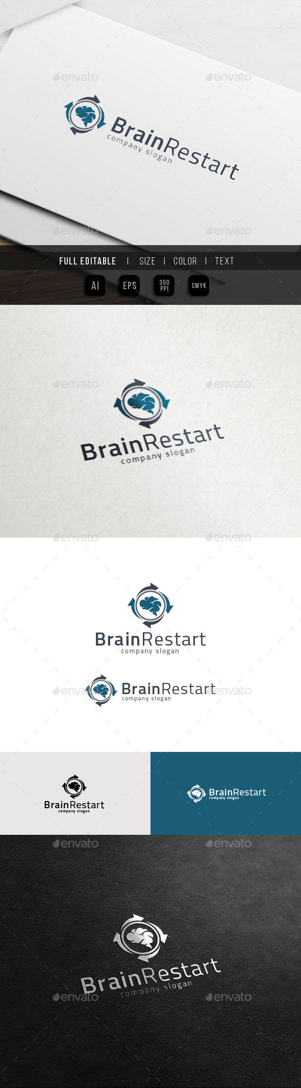 GraphicRiver Brain Restart Concept Load Idea Share Logo 11772202
