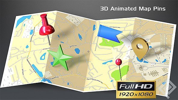 3D Animated Map Pins