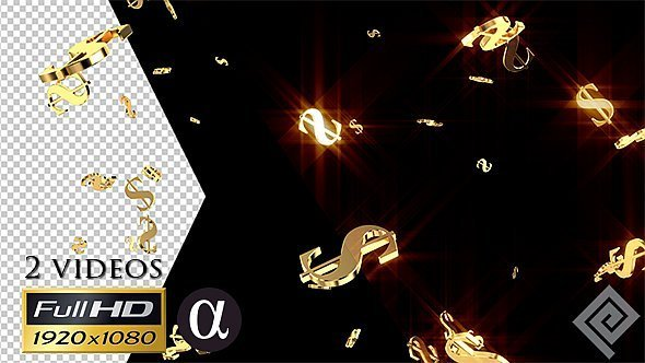 Golden Falling Dollar Signs
