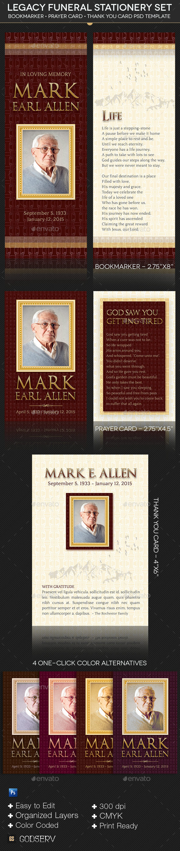 GraphicRiver Legacy Funeral Stationery Template Set 11772837