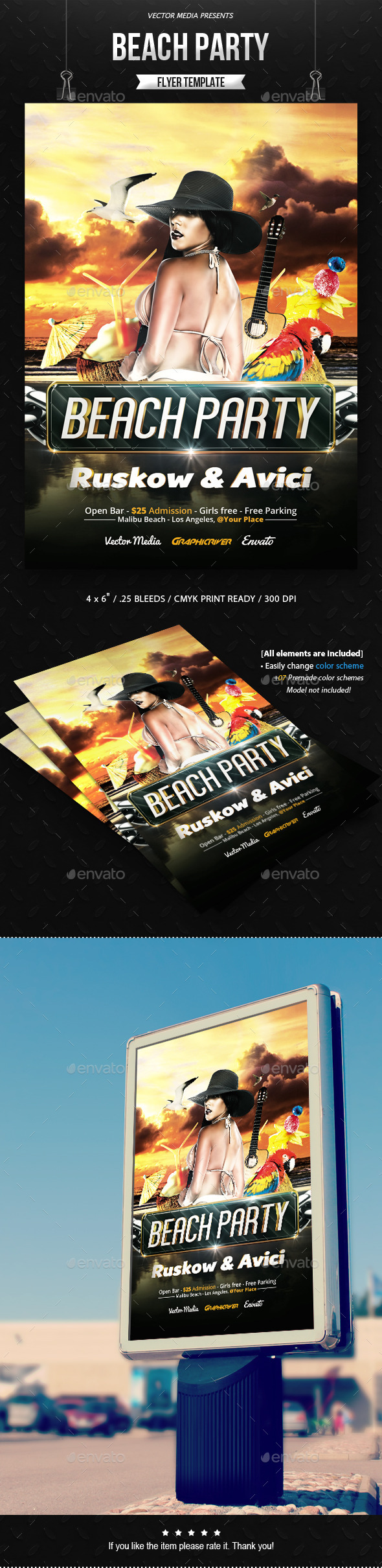 GraphicRiver Beach Party Flyer 11773004