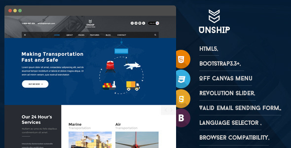 ThemeForest Unship Transport HTML5 Responsive Template 11686073