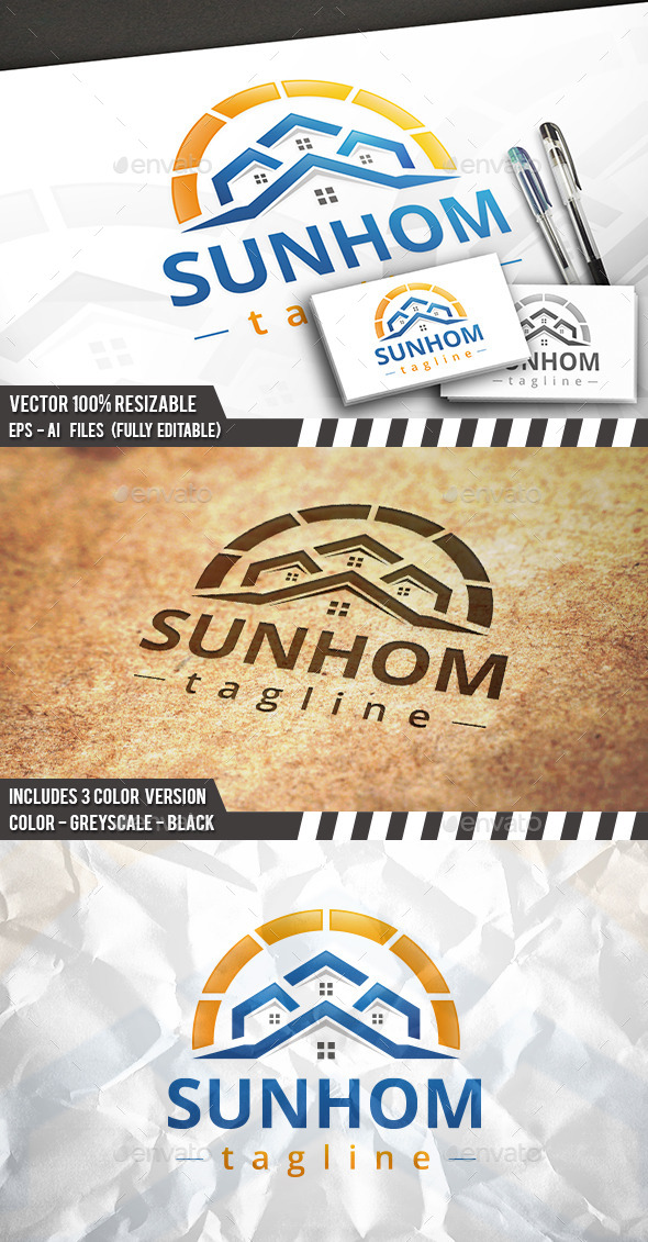 GraphicRiver Beach Houses Logo 11773712