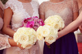 Bride and bridesmaid's wedding bouquet